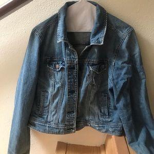 American eagle cropped jean jacket